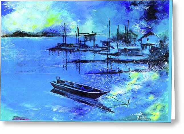 Blue Dream 2 Greeting Card by Anil Nene