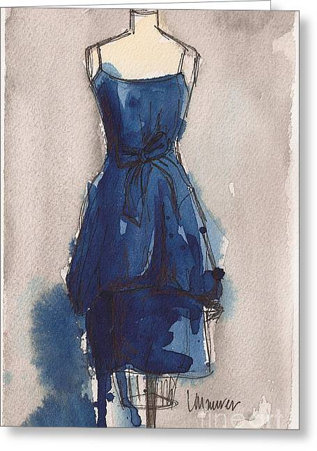 Grey Background Greeting Cards - Blue Dress II Greeting Card by Lauren Maurer