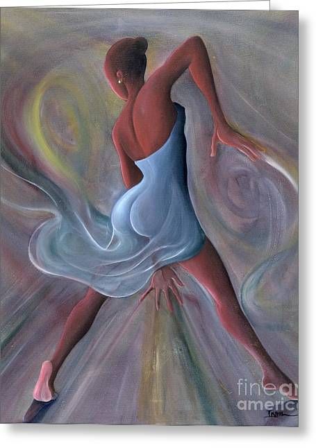 Movement Greeting Cards - Blue Dress Greeting Card by Ikahl Beckford