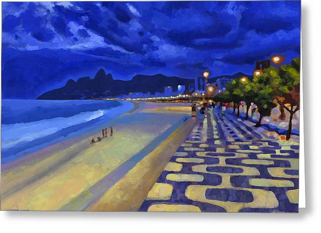 Brasil Greeting Cards - Blue Dusk Ipanema Greeting Card by Douglas Simonson