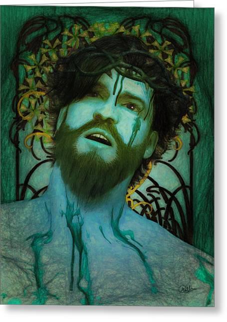 Blue Ecce Homo Greeting Card by Joaquin Abella
