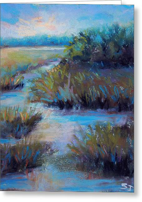 Night Time Pastels Greeting Cards - Blue Evening Marsh Greeting Card by Susan Jenkins