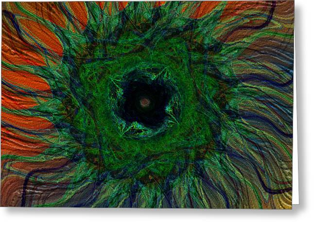 Green Abstract Greeting Cards - Blue Eye Dreams Greeting Card by Diane Parnell