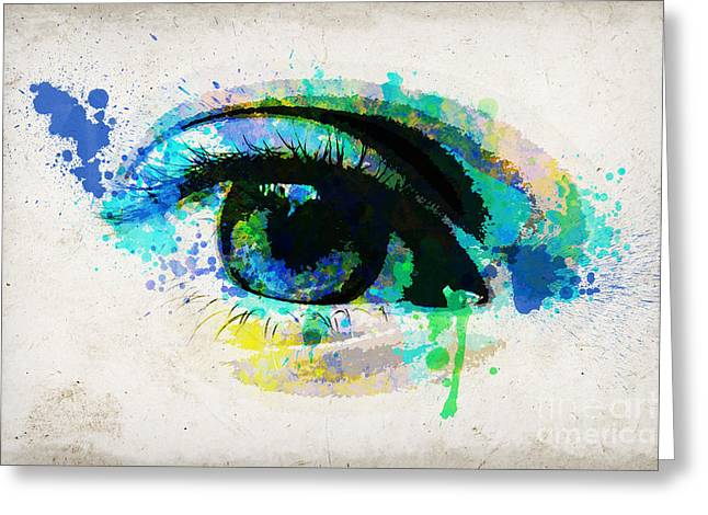 Eyelash Greeting Cards - Blue eye watercolor Greeting Card by Delphimages Photo Creations