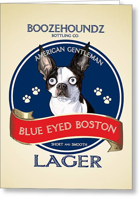 Booze Drawings Greeting Cards - Blue Eyed Boston Lager Greeting Card by John LaFree
