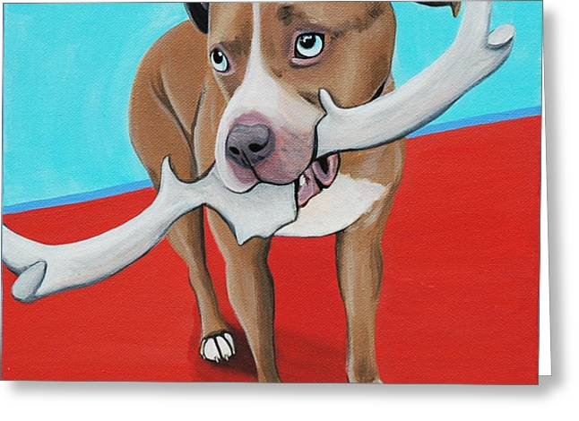 Love The Animal Greeting Cards - Blue Eyed Pitbull Loves Antlers Greeting Card by Lauren Hammack