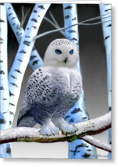 Blue-eyed Snow Owl Greeting Card by Glenn Holbrook