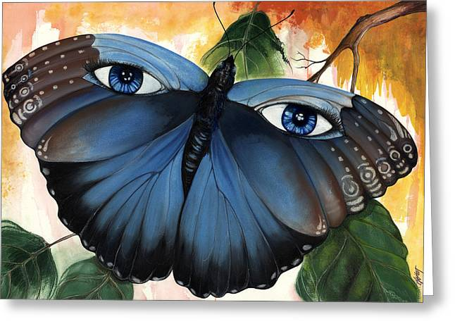 African-american Mixed Media Greeting Cards - Blue Eyes Butterfly Greeting Card by Anthony Burks Sr