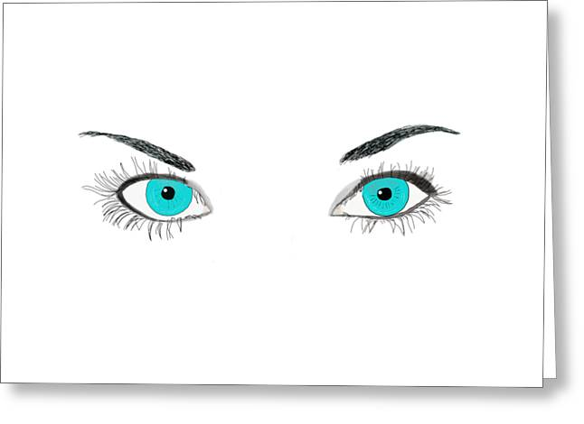 Eyebrow Greeting Cards - Blue Eyes Greeting Card by Priscilla Wolfe
