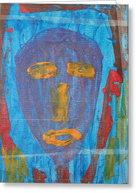 Russell Simmons Greeting Cards - Blue Face I Greeting Card by Russell Simmons