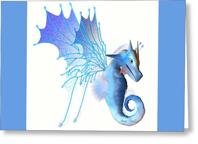 Faerie Tale Greeting Cards - Blue Faerie Dragon Greeting Card by Corey Ford