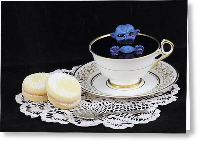 Fairies Sculptures Greeting Cards - blue Fairy bathing in a teacup Greeting Card by Voodoo Delicious