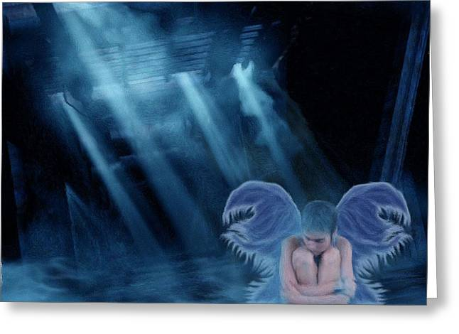 Fog Mist Mixed Media Greeting Cards - Blue Fairy Greeting Card by Maggie  Smith