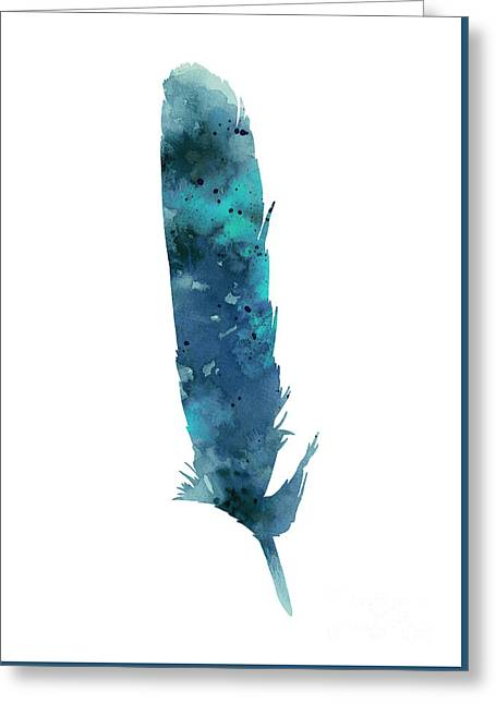 Bass Jewelry Greeting Cards - Blue feather giclee print Greeting Card by Joanna Szmerdt