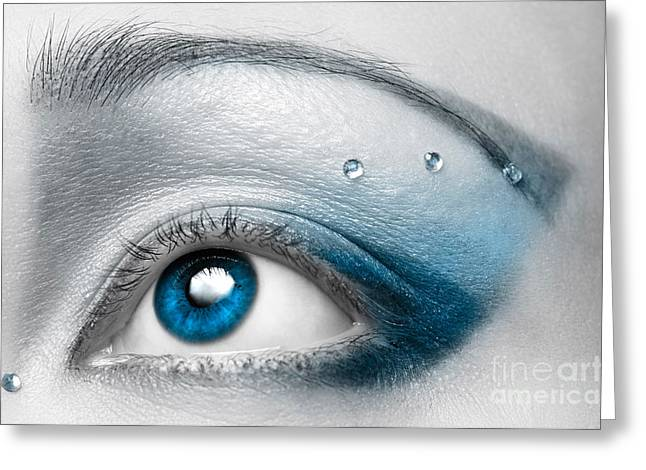 White Blue Greeting Cards - Blue Female Eye Macro with Artistic Make-up Greeting Card by Oleksiy Maksymenko