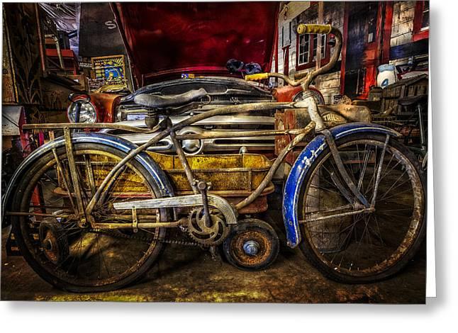 Wagon Wheels Greeting Cards - Blue Fenders Greeting Card by Debra and Dave Vanderlaan