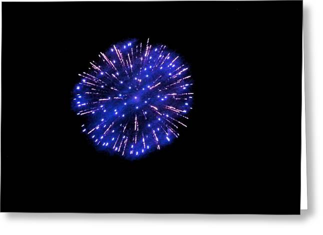 4th July Greeting Cards - Blue Firework Greeting Card by Shelly Dixon