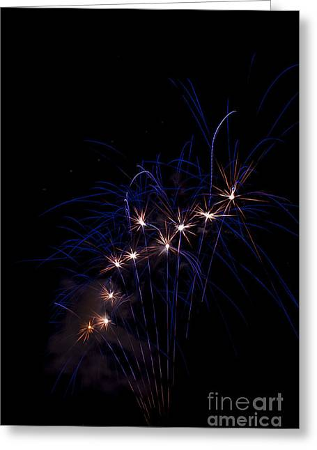4th July Greeting Cards - Blue Fireworks Greeting Card by Mandy Judson