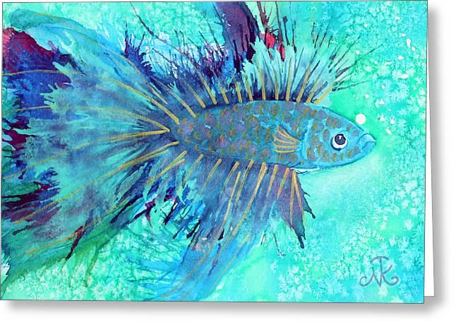 Siamese Fighting Fish Greeting Cards - Blue Fish Greeting Card by Nina Tyksinski