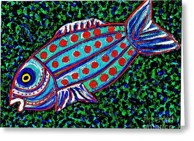 Fanciful Paintings Greeting Cards - Blue Fish Greeting Card by Sarah Loft