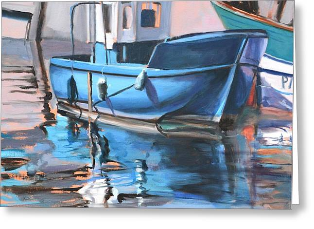 Docked Sailboat Greeting Cards - Blue Fishing Boat Greeting Card by Donna Tuten
