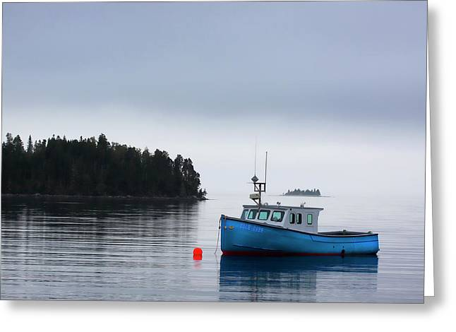 Blue Fishing Boat In Fog Greeting Card by Carol Leigh