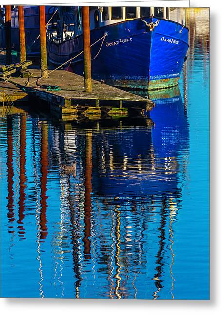 Blue Fishing Boat Reflection Greeting Card by Garry Gay