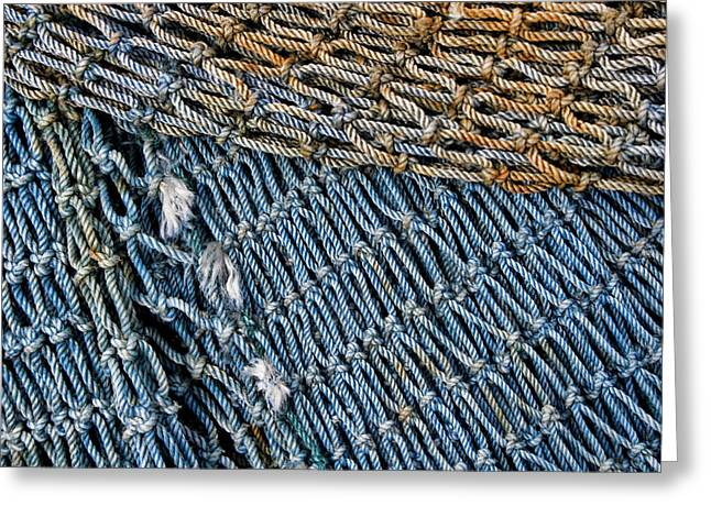 Greeting Cards - Blue Fishing Net Detail Greeting Card by Carol Leigh
