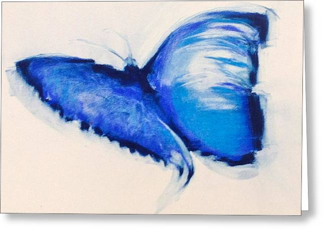 Flying Animal Pastels Greeting Cards - Blue Flight Greeting Card by Calla Beddow