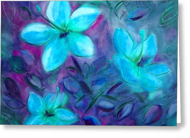 Gorna Greeting Cards - Blue Flowers Greeting Card by Gina De Gorna