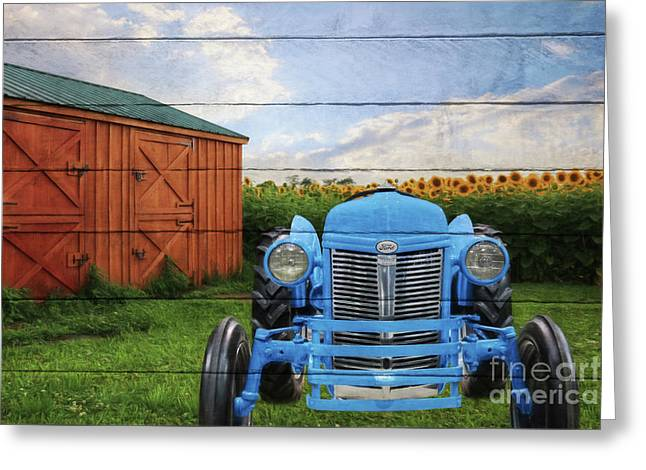 Blue Ford Tractor Greeting Card by Lori Deiter