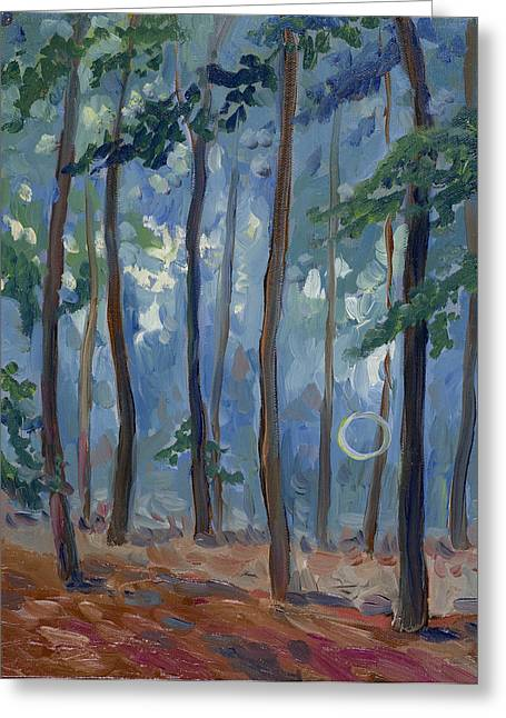 Visionary Artist Paintings Greeting Cards - Blue Forest Path 1 Greeting Card by Susan Tower