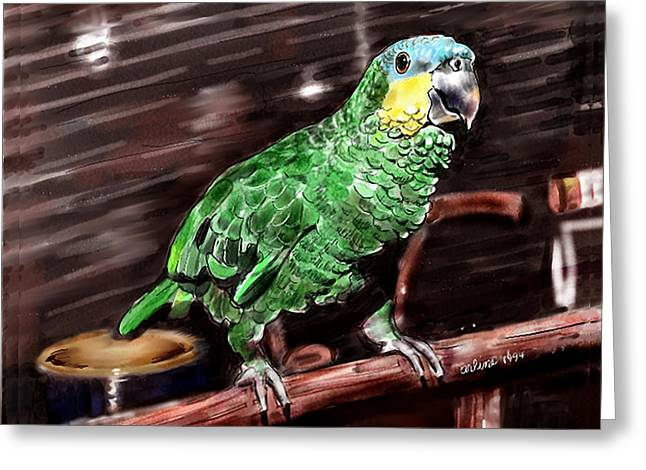 Parrot Digital Art Greeting Cards - Blue-fronted Amazon Parrot Greeting Card by Arline Wagner