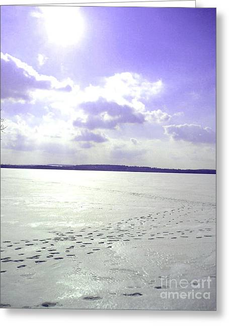 Silvie Kendall Photographs Greeting Cards - Blue Frozen Lake Greeting Card by Silvie Kendall