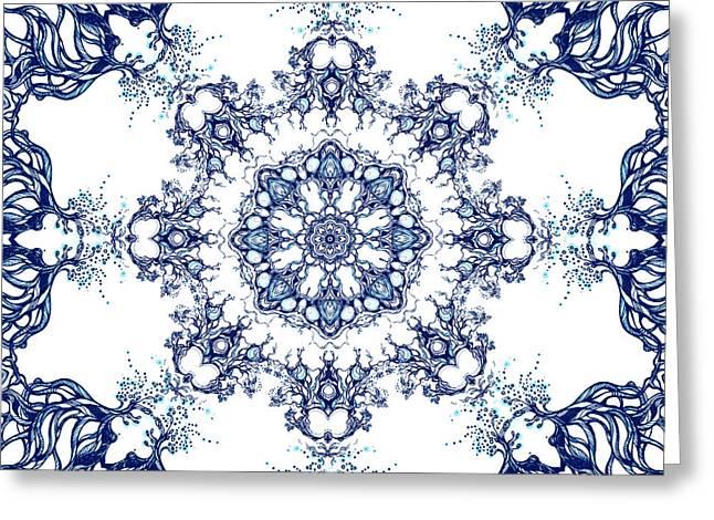 Pen Greeting Cards - Blue Garden Mandala Greeting Card by Sviatlana Kandybovich