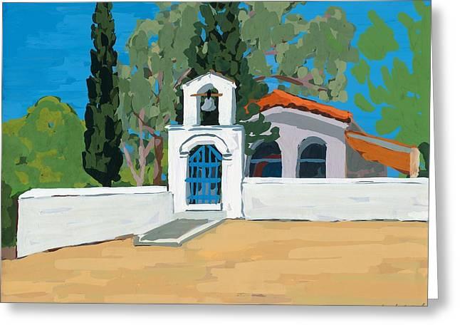 Mediterranean Landscape Greeting Cards - Blue Gate Greeting Card by Sarah Gillard