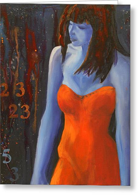 Strapless Dress Greeting Cards - Blue Girl in Red Dress Greeting Card by Lynn Chatman