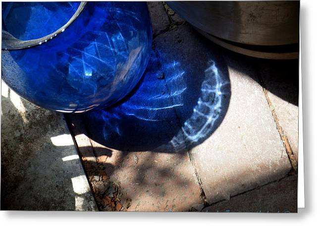 New Glass Art Greeting Cards - Blue Glass Reflections 3 Greeting Card by Tamara Kulish