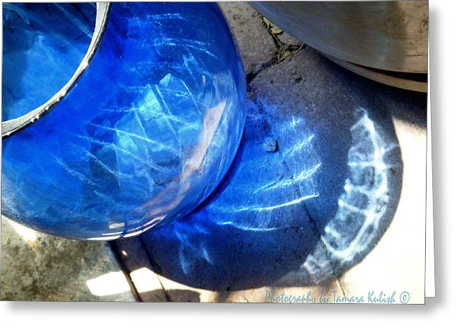 New Glass Art Greeting Cards - Blue Glass Reflections 4 Greeting Card by Tamara Kulish