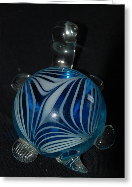 Animal Glass Greeting Cards - Blue Glass Turtle Greeting Card by Rob Hans