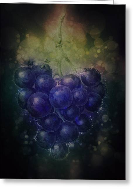 Blue Grapes Mixed Media Greeting Cards - Blue Grapes Greeting Card by Terry Fleckney