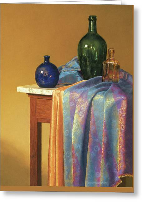 Cloth Pastels Greeting Cards - Blue Green and Gold Greeting Card by Barbara Groff