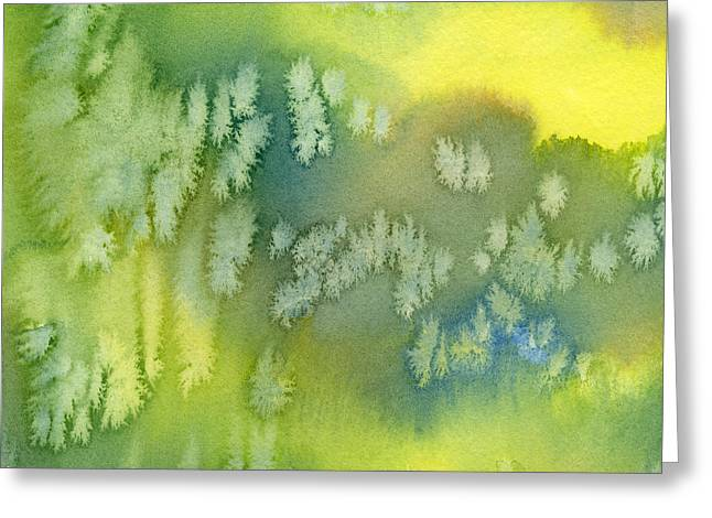Cushion Paintings Greeting Cards - Blue Green and Yellow Abstract Watercolor Design 1 Greeting Card by Sharon Freeman