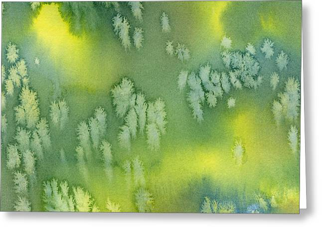 Green Abstract Greeting Cards - Blue Green and Yellow Abstract Watercolor Design 2 Greeting Card by Sharon Freeman