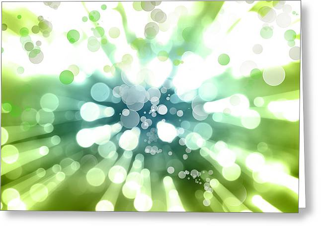 Burst Digital Greeting Cards - Blue green explosion Greeting Card by Les Cunliffe