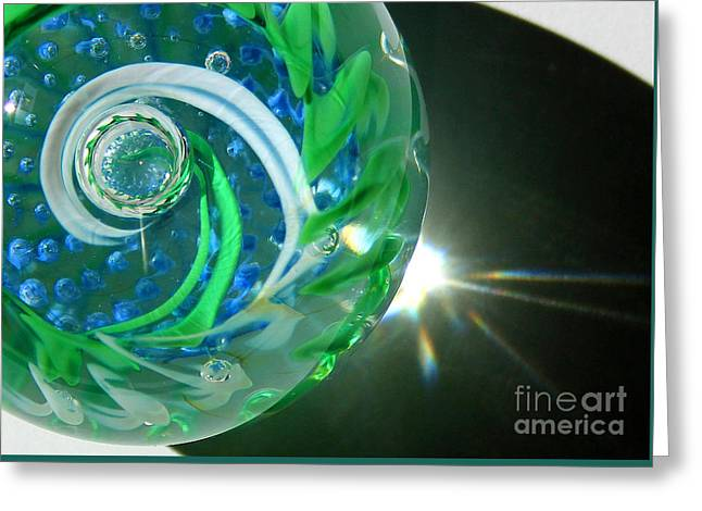 Paperweight Greeting Cards - Blue Green Glass Swirl Close-up Greeting Card by Karen Adams
