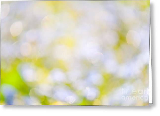 Twinkle Greeting Cards - Blue green sparkles and circles bokeh abstract  Greeting Card by Arletta Cwalina