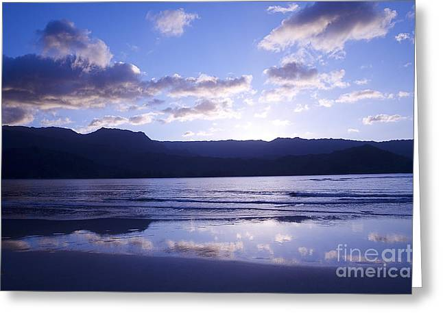 Amazing Sunset Greeting Cards - Blue Hanalei Bay Greeting Card by Kicka Witte - Printscapes