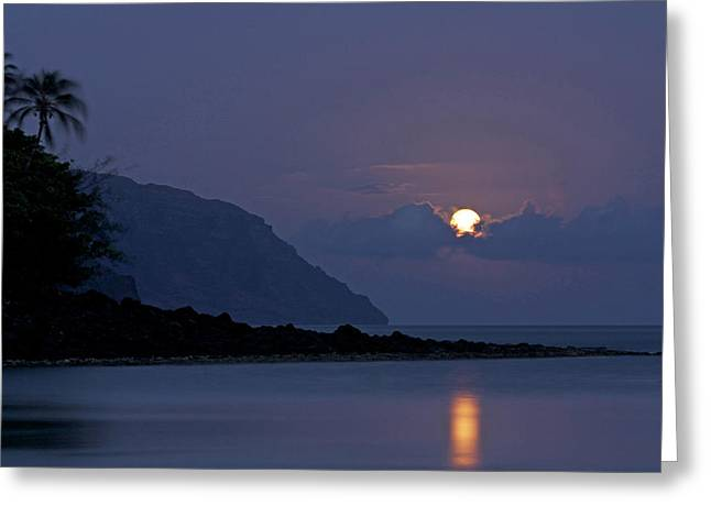 Sea Moon Full Moon Greeting Cards - Blue Hawaii Greeting Card by Allen Lefever