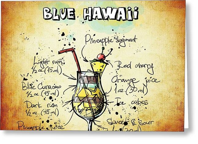 Bartender Drawings Greeting Cards - Blue Hawaii Recipe Greeting Card by Alexas Fotos